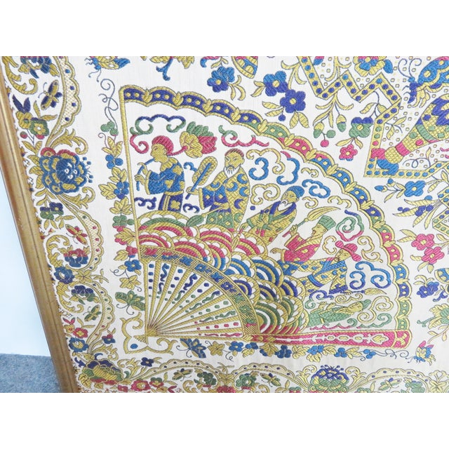 Large Chinese Framed Tapestry For Sale In Philadelphia - Image 6 of 7