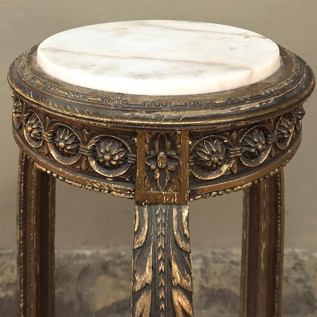 Pedestal, 19th Century French Louis XVI Giltwood With Marble Top For Sale In Dallas - Image 6 of 12