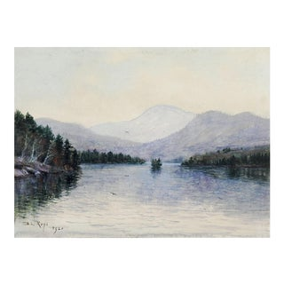 Serene Blue Lake Watercolor Painting, 1920 For Sale