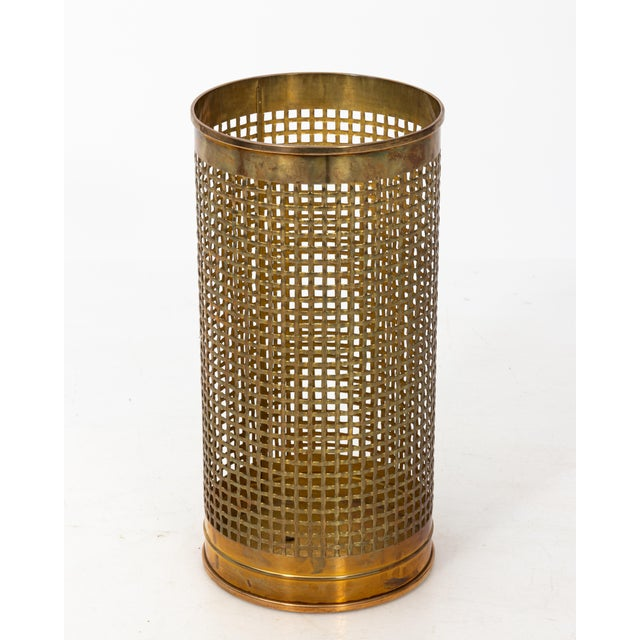 Solid Brass Basket Weave Umbrella Stand For Sale In New York - Image 6 of 6