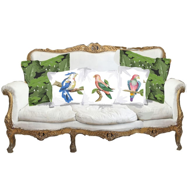 Transitional Dana Gibson Blue Parrot Pillow For Sale - Image 3 of 3
