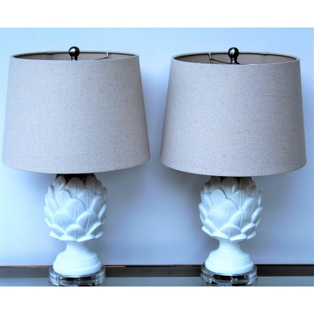 White Contemporary White Artichoke Table Lamps - a Pair For Sale - Image 8 of 10