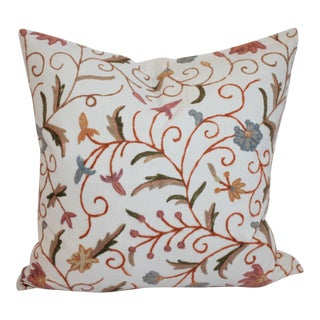 Crewelwork Embroidered White Pillow For Sale