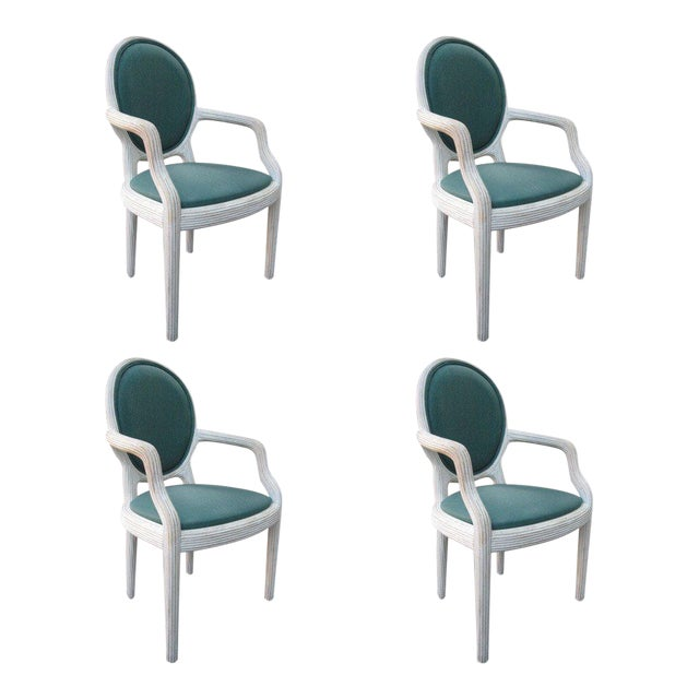 Four Bamboo Lime Finish Armchairs - Image 1 of 7