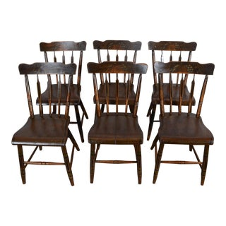 Mid 19th Century Antique Hand-Painted Arrow Back Chairs - Set of 6 For Sale