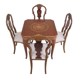 Italian Highly Inlaid Games Table & 4 Chairs With Roulette Wheel For Sale