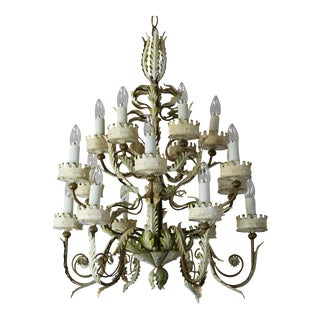 Large Italian Tole Chandelier For Sale