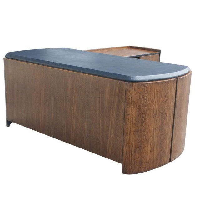 Mid-Century Modern Mid Century Oak and Leather Desk by Lydia dePolo for Dunbar For Sale - Image 3 of 9