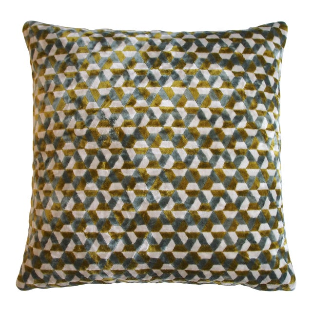 """Piper Collection Blue Green """"Andy"""" Pillow For Sale"""