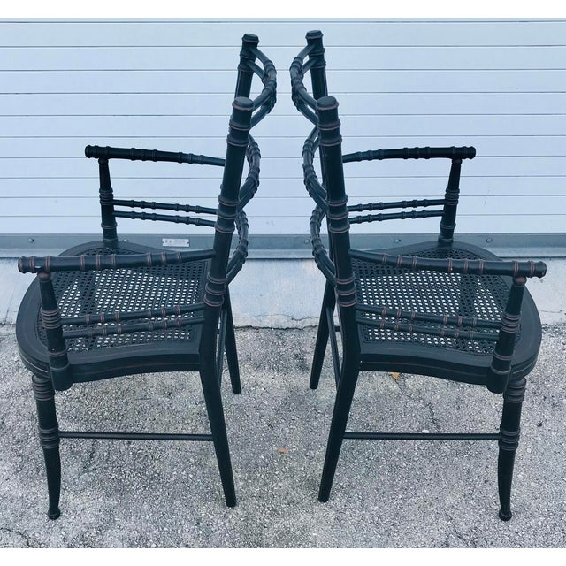 Vintage Baker Furniture Faux Bamboo Chairs - a Pair For Sale - Image 9 of 11