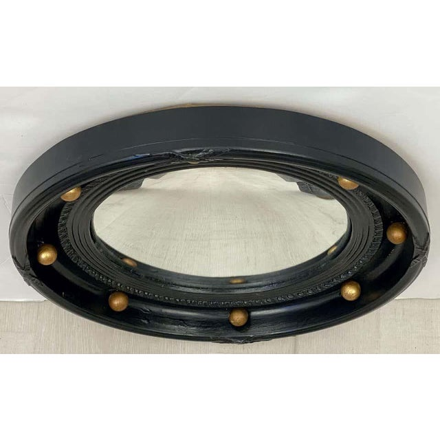 English English Round Ebony Black and Gold Framed Convex Mirror For Sale - Image 3 of 13