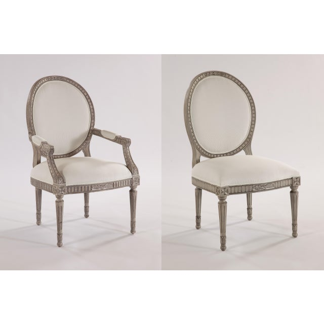 Traditional Swedish Oval Back Dining Side Armless Chair For Sale - Image 3 of 5