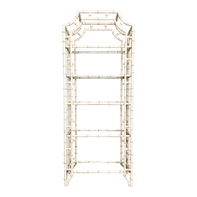 Vintage Chippendale Faux Bamboo Iron Etagere For Sale