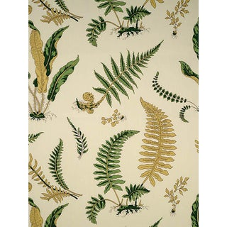 Sample, Scalamandre Elsie De Wolfe - Outdoor, Greens on Off White Fabric For Sale