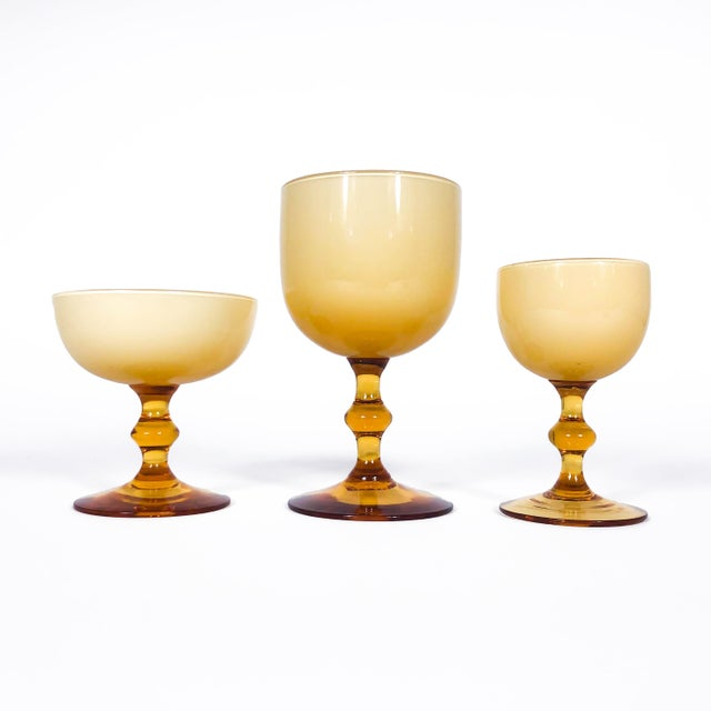 Amber Vintage Carlo Moretti Butterscotch Cased Glass Wine Glasses - Set of 10 For Sale - Image 8 of 9