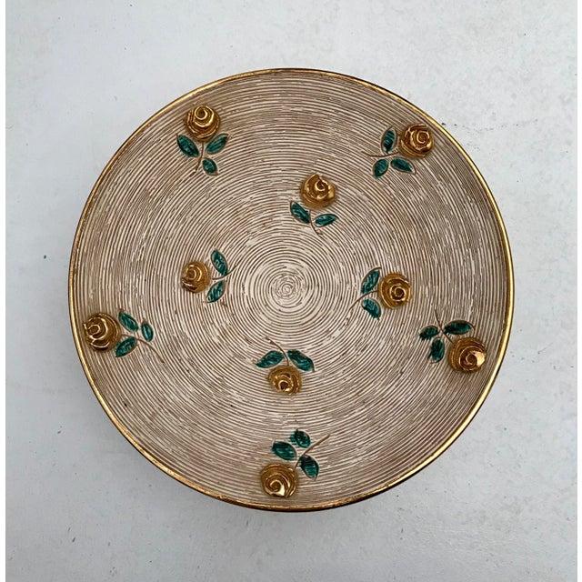 1980s 1980s Vintage Art Deco Gold Flowers Bowl For Sale - Image 5 of 6