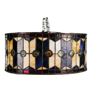 Antique Red & Blue Stained Glass Drum Pendant Fixture