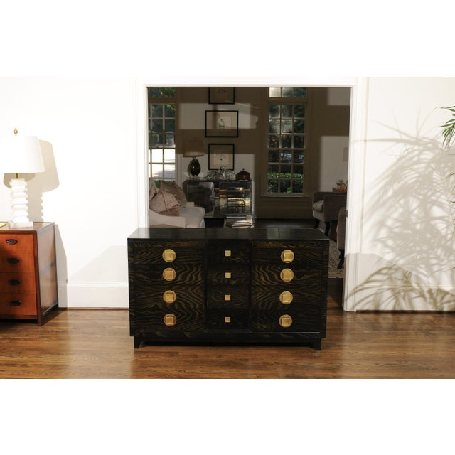 Black Sublime Restored Cerused Oak and Brass Commode by John Stuart, Circa 1950 For Sale - Image 8 of 13