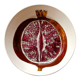 Piero Fornasetti Cut Fruit Pottery Plate Sezioni DI Frutta Series, the Pomegranate. For Sale