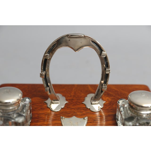 Antique English Equestrian Desk Set, Inkwells Circa 1910 For Sale In Houston - Image 6 of 9