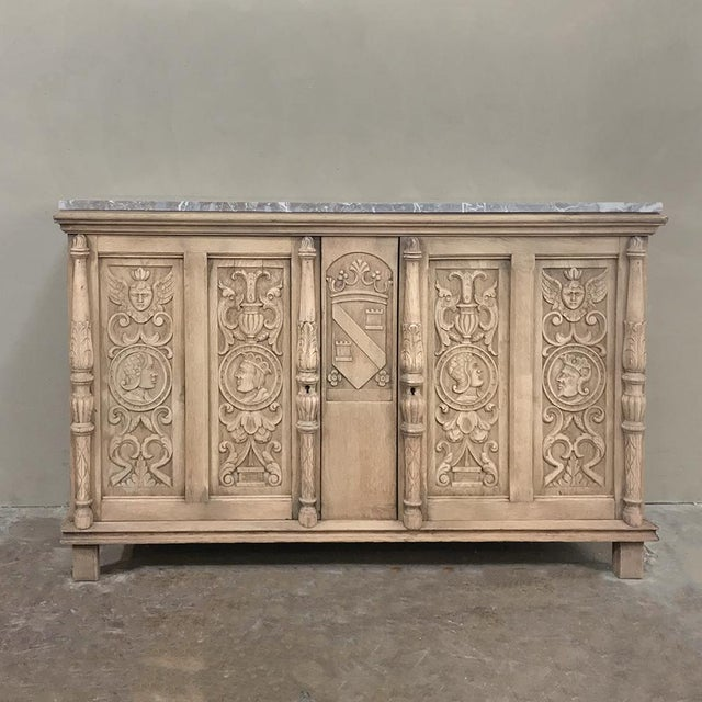 19th Century Stripped Renaissance Revival Low Buffet With Marble Top For Sale - Image 13 of 13