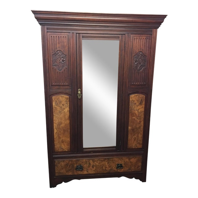 Vintage Armoire With Mirrored Door - Image 1 of 11