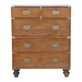 19th Century English Blond Mahogany Five Drawer Campaign Chest For Sale