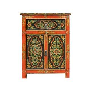 Tibetan Oriental Black Orange Floral End Table Nightstand For Sale