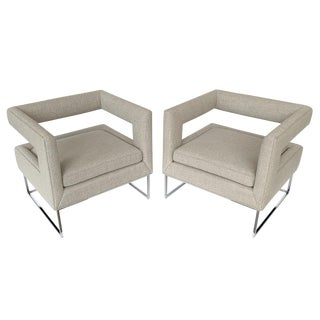 Pair of Milo Baughman Open Back Lounge Chairs For Sale