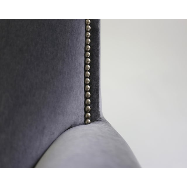 Metal Club Chair With Nail Trimmed Square Back With Scroll Arms and Loose Seat Cushion For Sale - Image 7 of 8