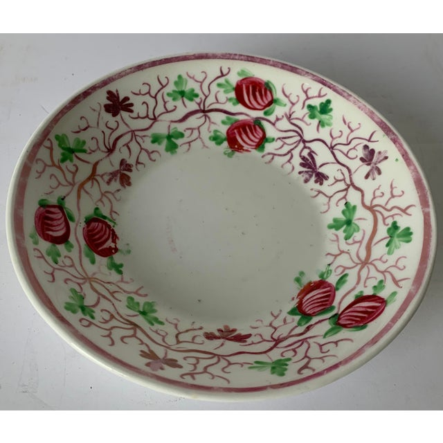 Late 19th century English soft paste porcelain lusterware trinket dish. Hand painted berry and vine motif. No makers mark...