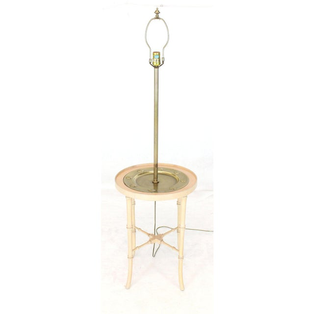 Fredrick Cooper Chicago Faux Bamboo White Wash Finish Brass Table Lamp For Sale - Image 12 of 12