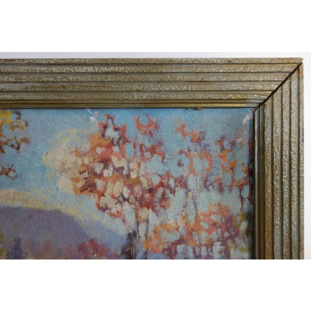 Ruby Red Vintage Oil on Canvas Fall Landscape Painting For Sale - Image 8 of 12