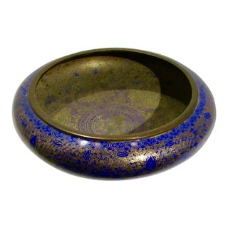 Chinese Dark Blue Enamel Shallow Bowl For Sale
