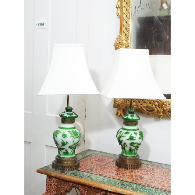 19TH CENTURY PEKING GLASS VASES AS LAMPS - Image 4 of 7