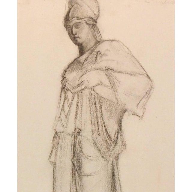 M Lambert Charcoal Drawing Of Athena C 1930