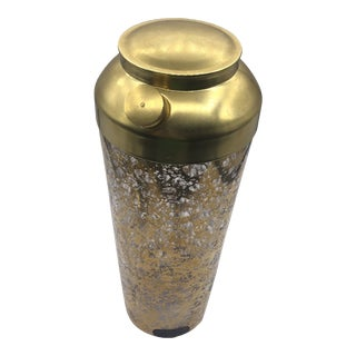 1980s Gold Decorated Cocktail Shaker by United Glass Industries For Sale
