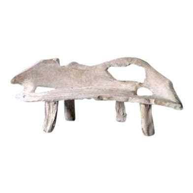 Weathered Teak Root Bench For Sale