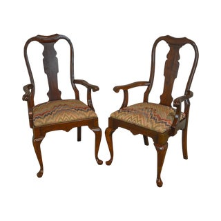 Pennsylvania House Solid Cherry Pair of Queen Anne Arm Chairs For Sale