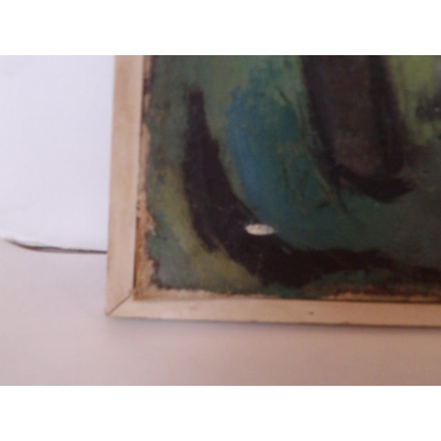 Early 20th Century Mid-Century Abstract Expressionist Landscape Original Oil on Canvas Painting For Sale - Image 5 of 8