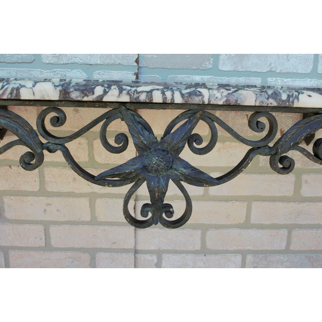Metal Antique French Victorian Wrought Iron Base Console Table For Sale - Image 7 of 13