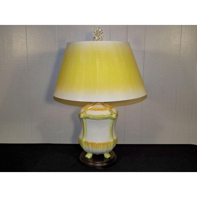 Vintage Frederick Cooper Hand Painted Pottery Table Lamp & Yellow Shade For Sale - Image 11 of 11