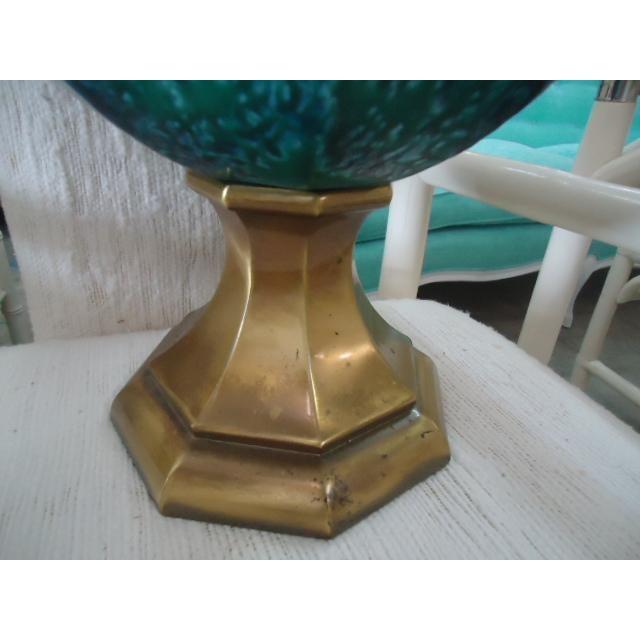 Mid-Century Turquoise Glazed Lamp - Image 5 of 9