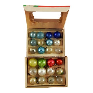 Vintage Mini Various Colors Christmas Ornaments - Set of 24