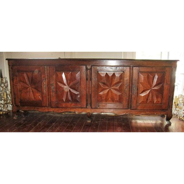 18th century solid walnut four diamond motif doors enfilade.