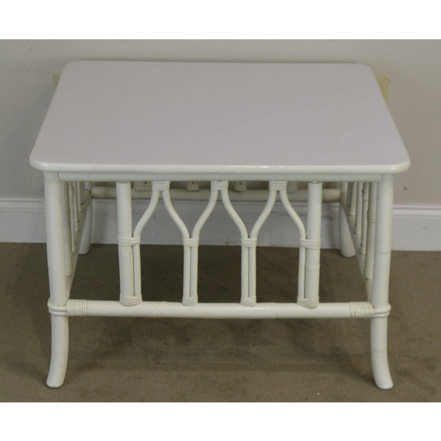 Ficks Reed White Painted Square Rattan Coffee Table For Sale In Philadelphia - Image 6 of 13