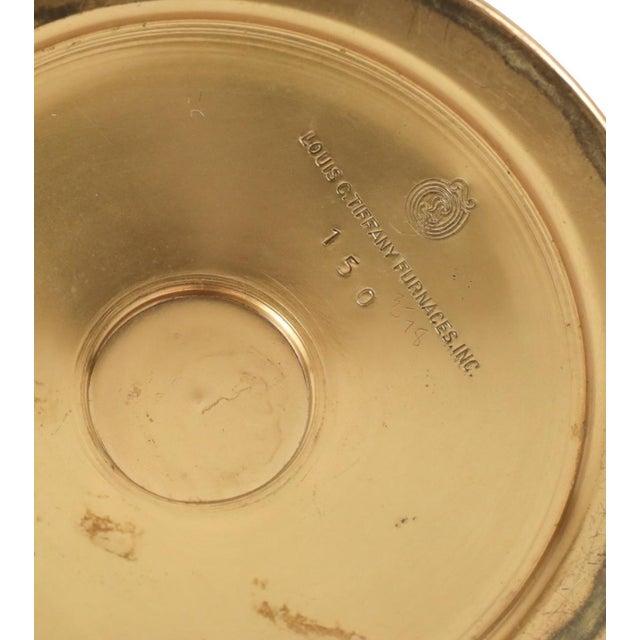 1900 Antique Louis C. Tiffany Favrile Furnaces Trumpet Vase on Bronze Enamel Base - Image 5 of 5