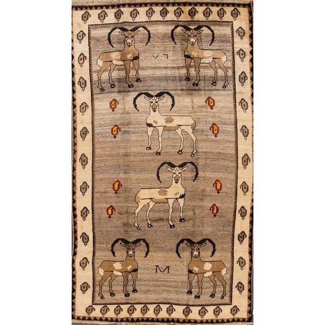 "Apadana - Vintage Pictorial Gabbeh Rug, 5'3"" x 9'7"" For Sale - Image 5 of 5"