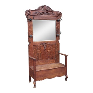 Large Antique Victorian Carved Oak Hallway Stand Bench W/ Mirror C1890 For Sale