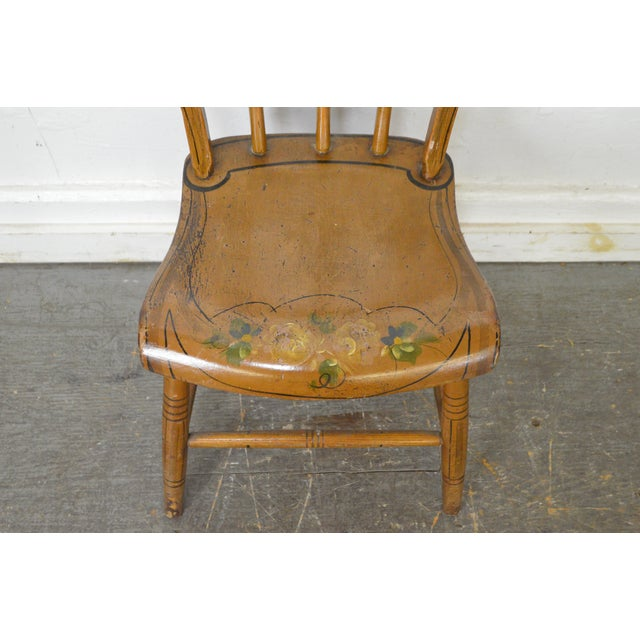 Antique Early 19th Century Painted Childs Youth-Size Windsor Dining Chairs  - Set of 6 - Antique Early 19th Century Painted Childs Youth-Size Windsor Dining